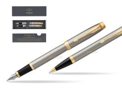 Parker IM Brushed Metal GT Fountain Pen T2016 Fountain Pen + Ballpoint Pen in a Gift Box