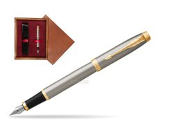 Parker IM Brushed Metal GT Fountain Pen  single wooden box Mahogany Single Maroon