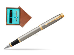 Parker IM Brushed Metal GT Fountain Pen  single wooden box  Mahogany Single Turquoise