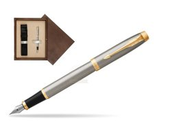 Parker IM Brushed Metal GT Fountain Pen  single wooden box  Wenge Single Ecru