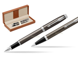 Parker IM Dark Espresso Lacque CT Fountain Pen T2016 Fountain Pen + Ballpoint Pen in a Gift Box  in classic box brown