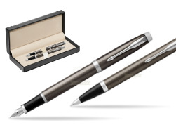 Parker IM Dark Espresso Lacque CT Fountain Pen T2016 Fountain Pen + Ballpoint Pen in a Gift Box  in classic box  black