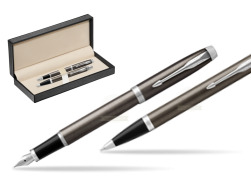 Parker IM Dark Espresso Lacque CT Fountain Pen T2016 Fountain Pen + Ballpoint Pen in a Gift Box  in classic box  pure black