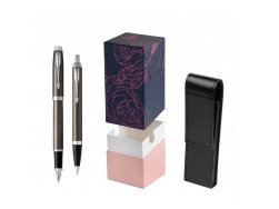 Parker IM Dark Espresso Lacque CT Fountain Pen T2016 Fountain Pen + Ballpoint Pen in a Gift Box  StandUP Roses