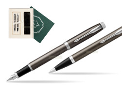"Parker IM Dark Espresso Lacque CT Fountain Pen T2016 Fountain Pen + Ballpoint Pen in a Gift Box  ""Science"""