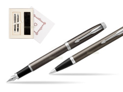 "Parker IM Dark Espresso Lacque CT Fountain Pen T2016 Fountain Pen + Ballpoint Pen in a Gift Box  ""Pure Love"""
