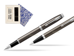 Parker IM Dark Espresso Lacque CT Fountain Pen T2016 Fountain Pen + Ballpoint Pen in a Gift Box  Universal Crystal Blue