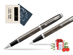 Parker IM Dark Espresso Lacque CT Fountain Pen T2016 Fountain Pen + Ballpoint Pen in a Gift Box  Christmas navy blue