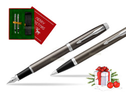 Parker IM Dark Espresso Lacque CT Fountain Pen T2016 Fountain Pen + Ballpoint Pen in a Gift Box  Christmas red