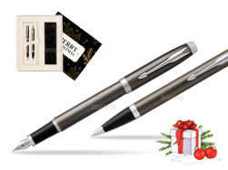 Parker IM Dark Espresso Lacque CT Fountain Pen T2016 Fountain Pen + Ballpoint Pen in a Gift Box  Magic of Christmas