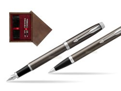 Parker IM Dark Espresso Lacque CT Fountain Pen T2016 Fountain Pen + Ballpoint Pen in a Gift Box  double wooden box Wenge Double Maroon