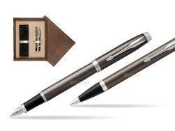 Parker IM Dark Espresso Lacque CT Fountain Pen T2016 Fountain Pen + Ballpoint Pen in a Gift Box  double wooden box Wenge Double Ecru