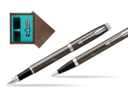 Parker IM Dark Espresso Lacque CT Fountain Pen T2016 Fountain Pen + Ballpoint Pen in a Gift Box  double wooden box Wenge Double Turquoise