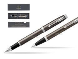 Parker IM Dark Espresso Lacque CT Fountain Pen T2016 Fountain Pen + Ballpoint Pen in a Gift Box