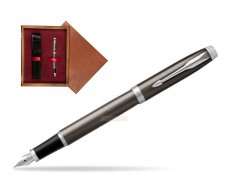 Parker IM Dark Espresso Lacque CT Fountain Pen  single wooden box Mahogany Single Maroon