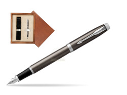 Parker IM Dark Espresso Lacque CT Fountain Pen  single wooden box  Mahogany Single Ecru