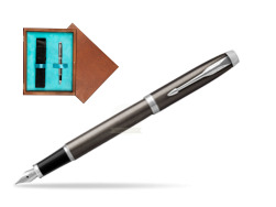 Parker IM Dark Espresso Lacque CT Fountain Pen  single wooden box  Mahogany Single Turquoise