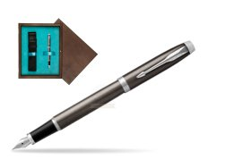 Parker IM Dark Espresso Lacque CT Fountain Pen  single wooden box  Wenge Single Turquoise