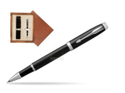 Parker IM Black CT Rollerball Pen  single wooden box  Mahogany Single Ecru