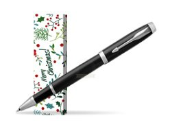 Parker IM Black CT Rollerball Pen in cover Merry Mistletoe