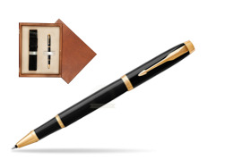 Parker IM Black GT Rollerball Pen  single wooden box  Mahogany Single Ecru