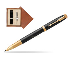 Parker IM Premium Black GT Rollerball Pen  single wooden box  Mahogany Single Ecru