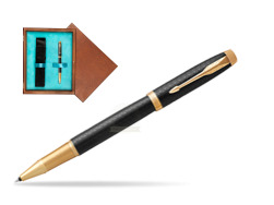 Parker IM Premium Black GT Rollerball Pen  single wooden box  Mahogany Single Turquoise