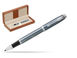 Parker IM Light Blue Grey CT Rollerball Pen  in classic box brown