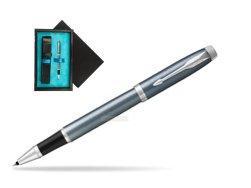 Parker IM Light Blue Grey CT Rollerball Pen  single wooden box  Black Single Turquoise