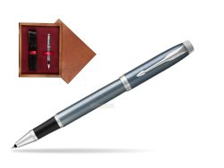Parker IM Light Blue Grey CT Rollerball Pen  single wooden box Mahogany Single Maroon