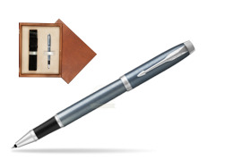 Parker IM Light Blue Grey CT Rollerball Pen  single wooden box  Mahogany Single Ecru