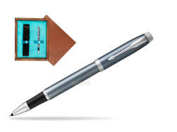 Parker IM Light Blue Grey CT Rollerball Pen  single wooden box  Mahogany Single Turquoise