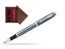 Parker IM Light Blue Grey CT Rollerball Pen  single wooden box  Wenge Single Maroon