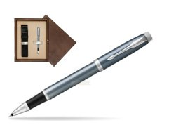 Parker IM Light Blue Grey CT Rollerball Pen  single wooden box  Wenge Single Ecru