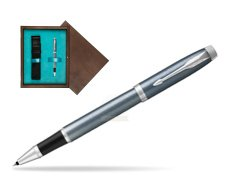 Parker IM Light Blue Grey CT Rollerball Pen  single wooden box  Wenge Single Turquoise