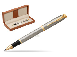 Parker IM Brushed Metal GT Rollerball Pen  in classic box brown