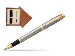Parker IM Brushed Metal GT Rollerball Pen in single wooden box  Mahogany Single Ecru