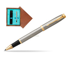 Parker IM Brushed Metal GT Rollerball Pen  single wooden box  Mahogany Single Turquoise