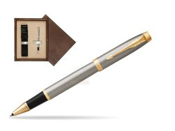 Parker IM Brushed Metal GT Rollerball Pen  single wooden box  Wenge Single Ecru