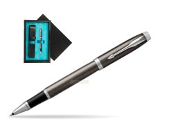 Parker IM Dark Espresso Lacque CT Rollerball Pen  single wooden box  Black Single Turquoise