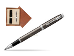 Parker IM Dark Espresso Lacque CT Rollerball Pen  single wooden box  Mahogany Single Ecru