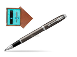 Parker IM Dark Espresso Lacque CT Rollerball Pen  single wooden box  Mahogany Single Turquoise