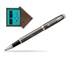 Parker IM Dark Espresso Lacque CT Rollerball Pen  single wooden box  Wenge Single Turquoise