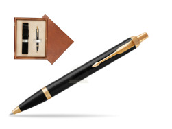 Parker IM Black GT Ballpoint Pen  single wooden box  Mahogany Single Ecru