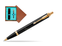 Parker IM Black GT Ballpoint Pen  single wooden box  Mahogany Single Turquoise