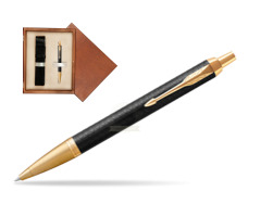 Parker IM Premium Black GT Ballpoint Pen  single wooden box  Mahogany Single Ecru