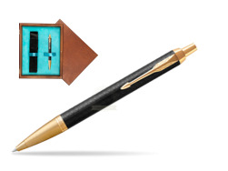 Parker IM Premium Black GT Ballpoint Pen  single wooden box  Mahogany Single Turquoise