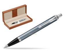 Parker IM Light Blue Grey CT Ballpoint Pen  in classic box brown
