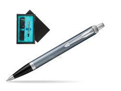 Parker IM Light Blue Grey CT Ballpoint Pen  single wooden box  Black Single Turquoise
