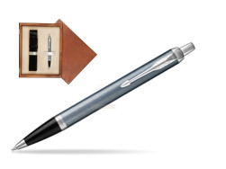 Parker IM Light Blue Grey CT Ballpoint Pen  single wooden box  Mahogany Single Ecru